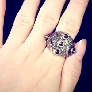 GOLD PLATED warrior tribal RING ANTIQUE STEAMPUNK